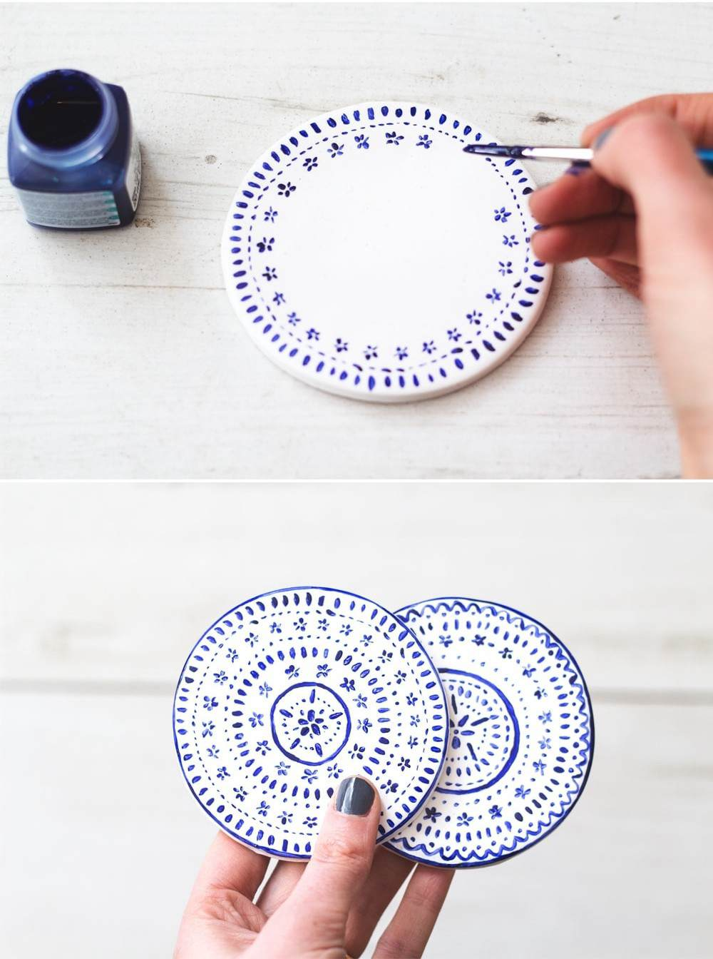 15. Painted Clay Coasters DIY