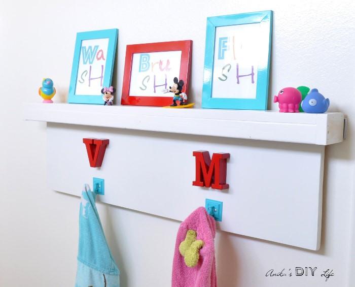 16. DIY Floating Shelf With Hooks