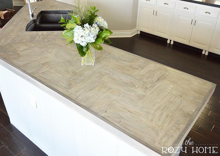 16. DIY Herringbone Wood Countertop