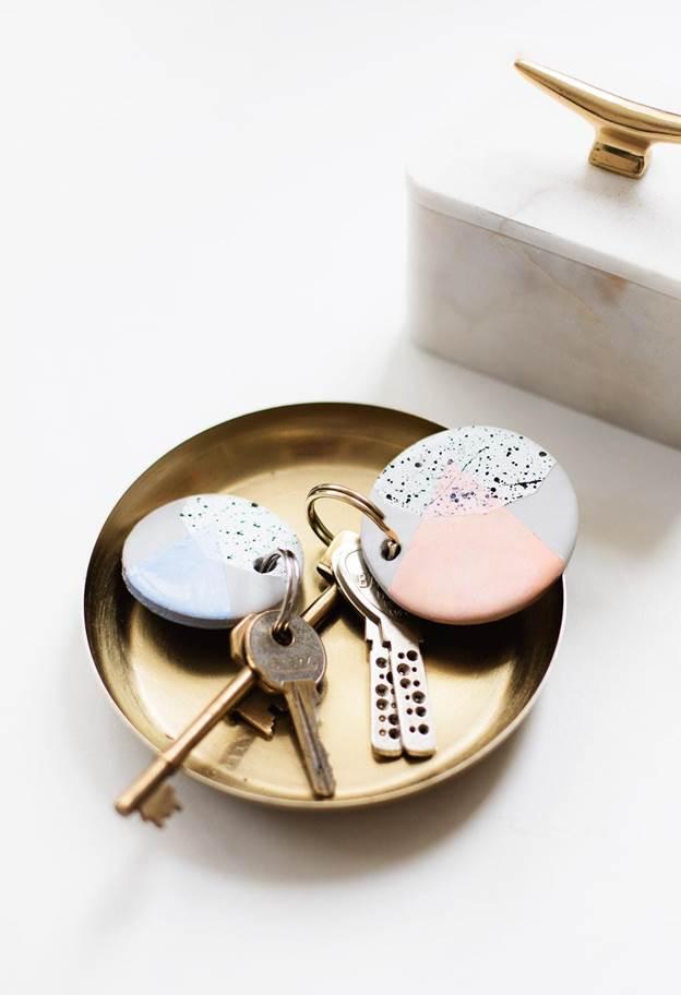 18. DIY Speckled Clay Keychain