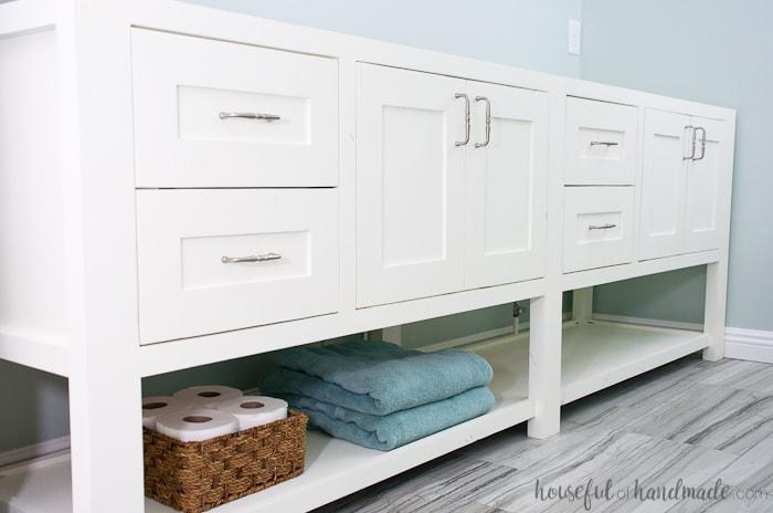 18. Open Shelf Bathroom Vanity DIY