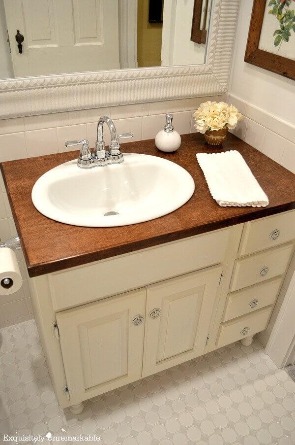 2. Beautiful DIY Wooden Countertop For Bathroom2. Beautiful DIY Wooden Countertop For Bathroom
