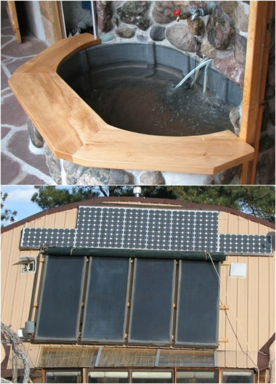 2. Solar Powered DIY Hot Tub