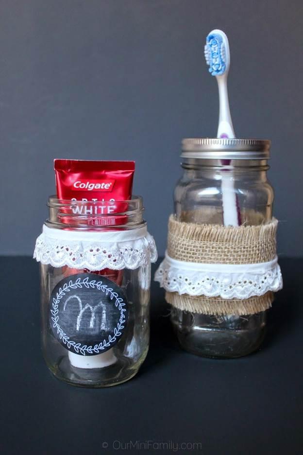 20. Mason Jar Toothbrush Holder DIY