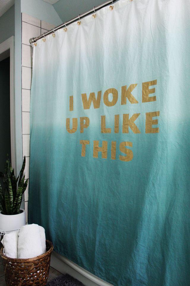 21. Statement Shower Curtain DIY