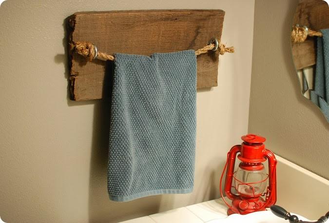 22. DIY Rustic Towel Bar