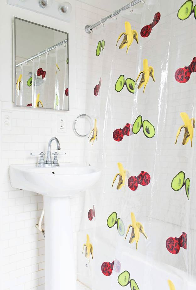 22. DIY Shower Curtain With Prints