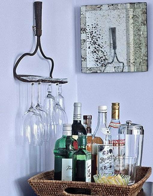 22. Hand Rake Wine Glass Rack DIY