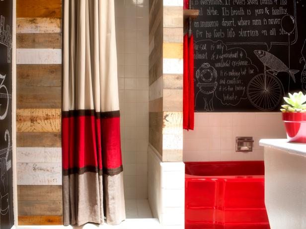 23. No-Sew Striped Shower Curtain