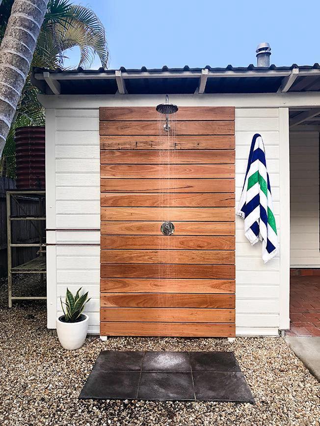 24. DIY Outdoor Shower With Hot Water