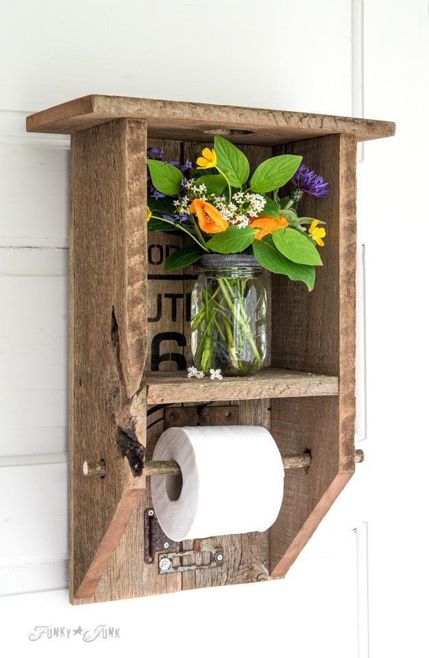 24. DIY Reclaimed Wood Toilet Paper Holder