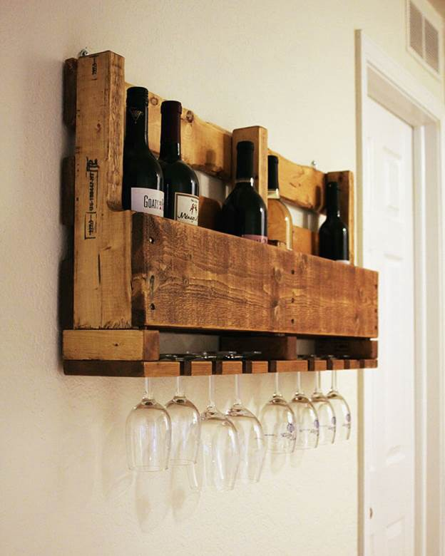 24. DIY Wine Glass Rack Pallet