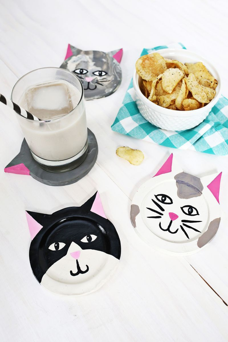 25. Clay Kitty Coaster DIY