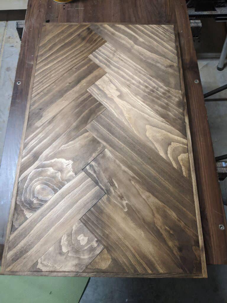 25. Herringbone Wood Countertop DIY