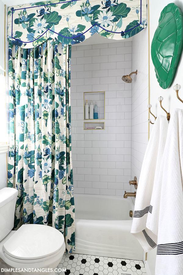 26. DIY Shower Curtain And Cornice Board