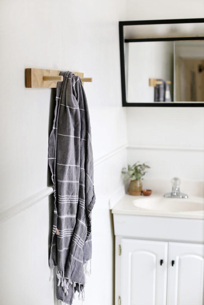 3. DIY Wooden Towel Rack