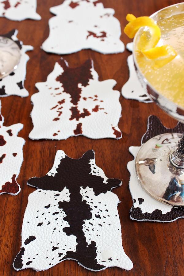 4. DIY Cowhide Coasters
