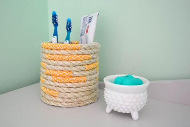 5. DIY Wrapped Toothbrush Holder