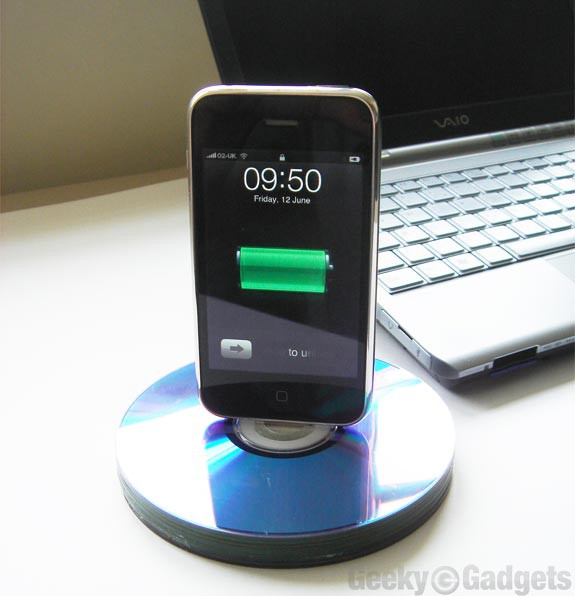 6. Recycled CD iPhone Dock