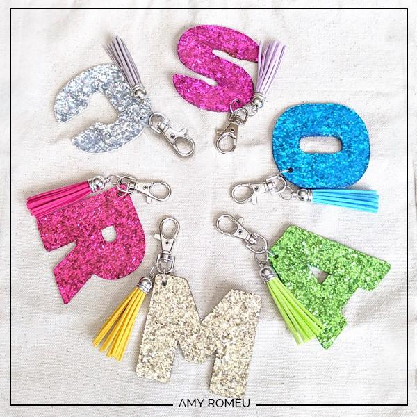 7. DIY Glitter Letter Keychain