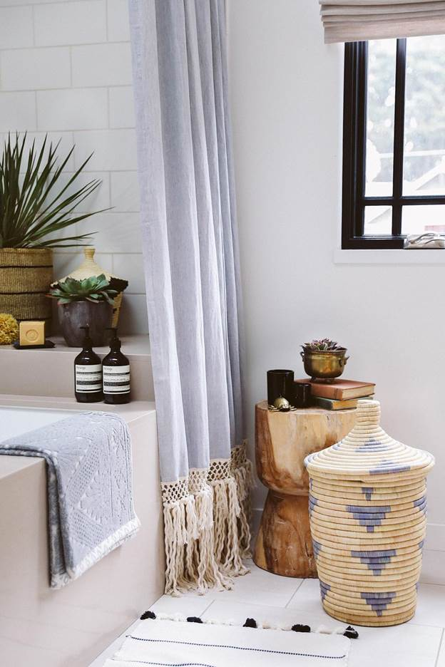 7. DIY Long Shower Curtain With Macrame