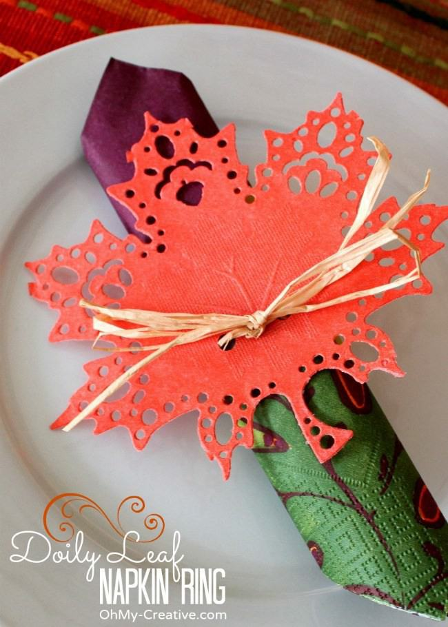 7. Fall Leaf DIY Napkin Rings