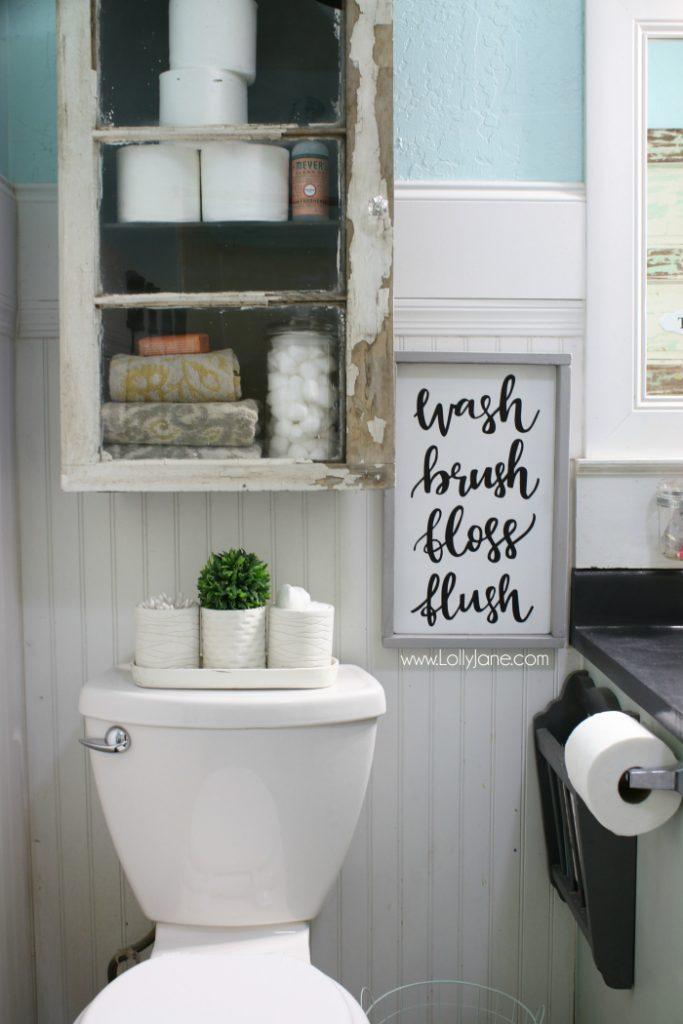 7. Rustic Bathroom Cabinet DIY