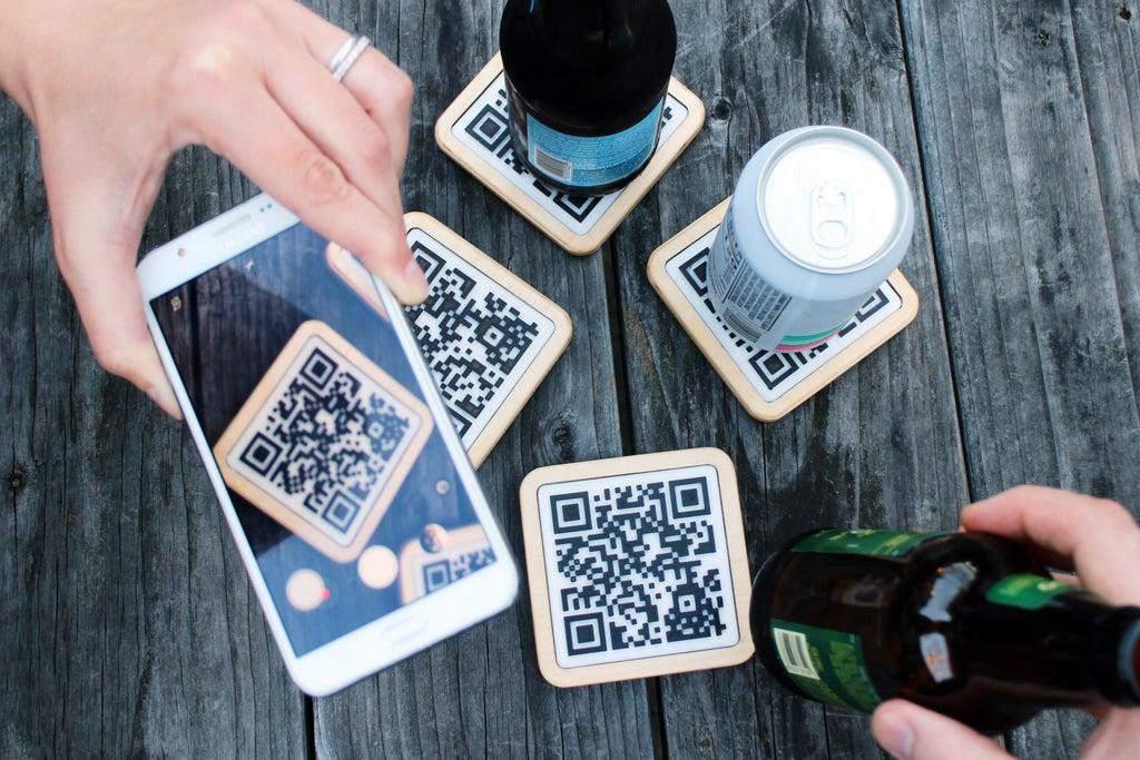 8. DIY QR Coasters
