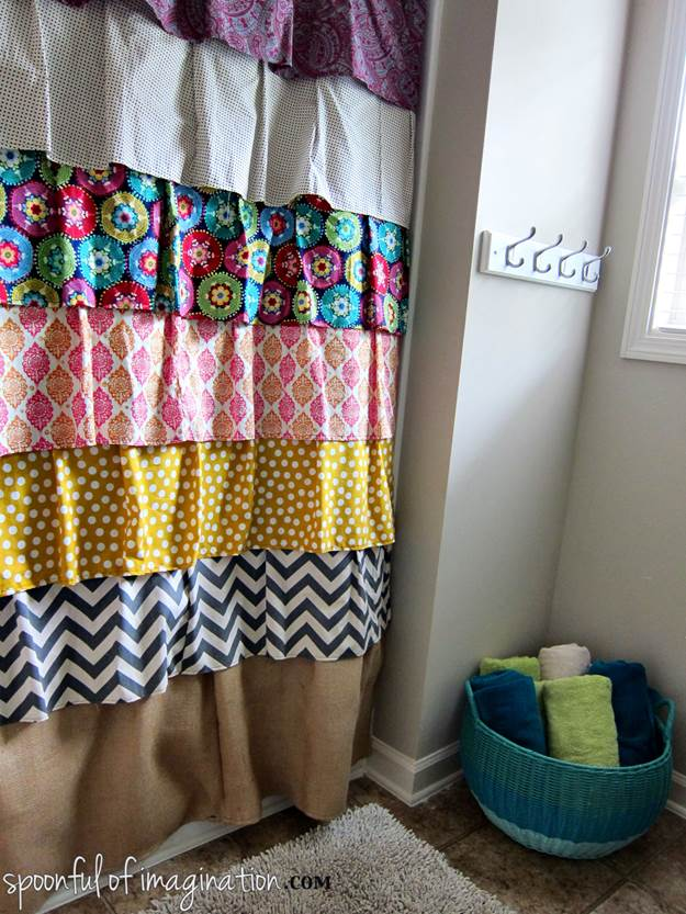 8. DIY Ruffled Shower Curtain