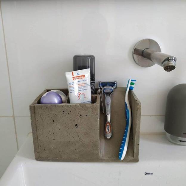 9. DIY Concrete Toothbrush Holder