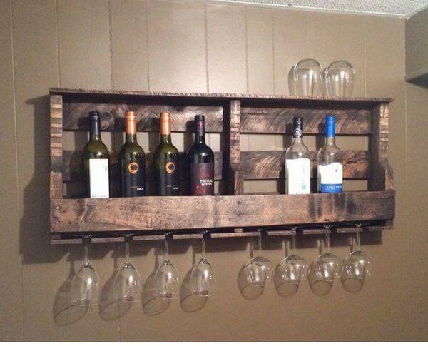 9. DIY Wood Pallet Wine Rack
