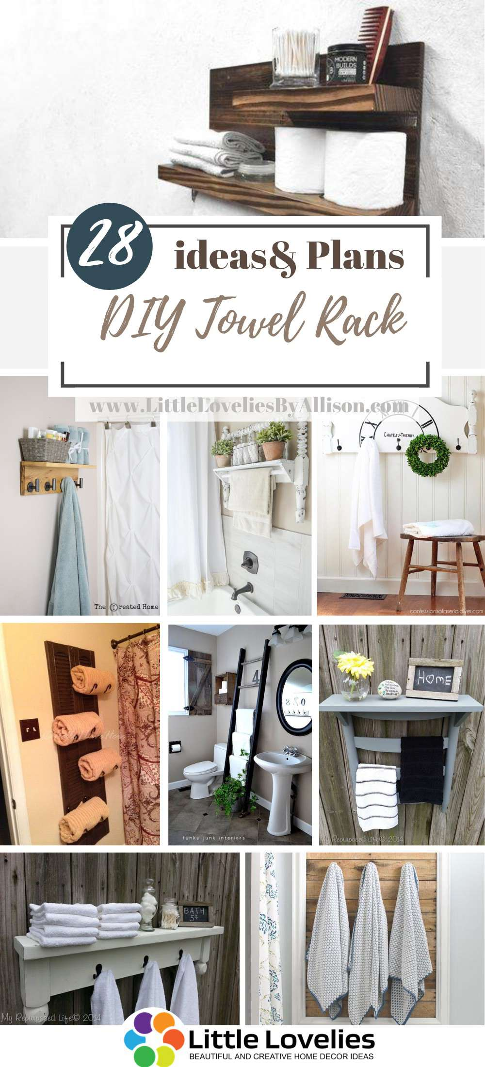 25 Diy Towel Rack For Classy And Rustic, Bathroom Shelves With Towel Bar Ideas