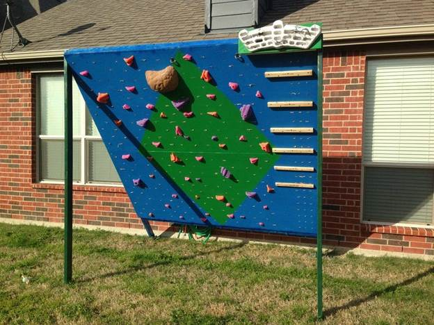 16. Backyard Climbing Wall DIY