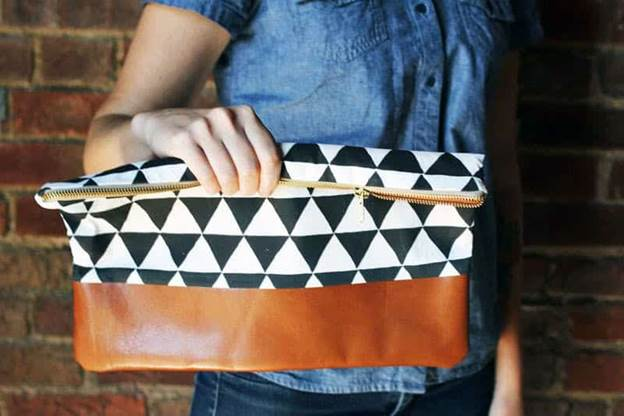 9-DIY-Cotton-Leather-Clutch-Purse
