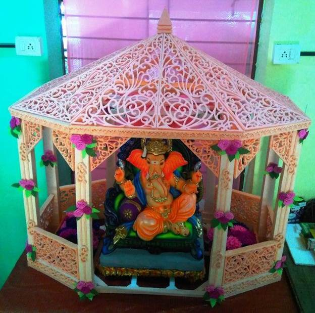 16. DIY Thermocol Decorative Temple