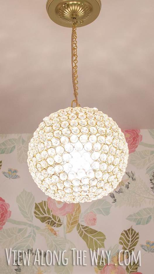 2. DIY Crystal Ball Chandelier