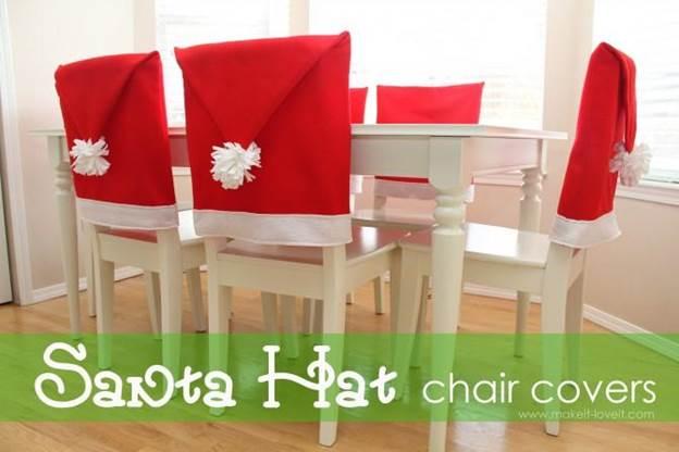 21-DIY-Santa-Hat-Chair-Covers