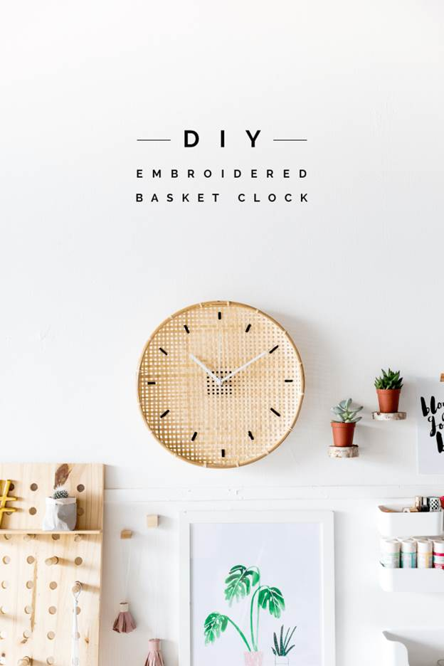 25-DIY-Embroided-Basket-Clock