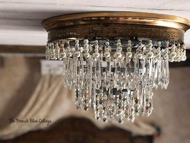 4. DIY Chandelier Makeover With Crystals And Beads