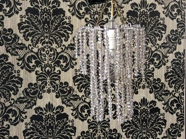 6. DIY Chandelier With Crystal Beads
