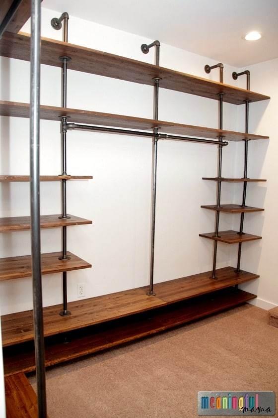 15. DIY Industrial Pipe Walk In Closet