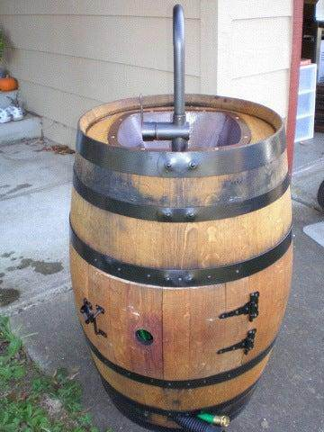 6. Outdoor Sink DIY With Wine Barrel