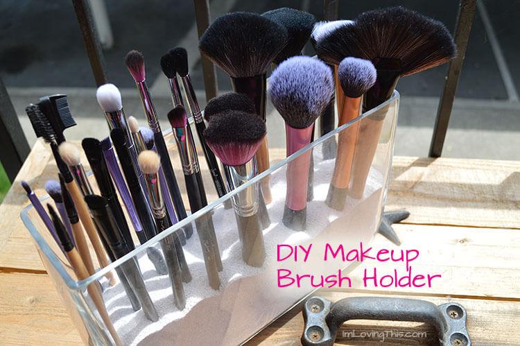 1.Clear Glass DIY Makeup Brush Holder