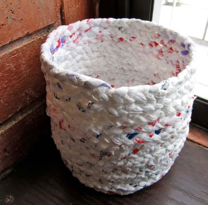 10. Plastic Bag DIY Basket