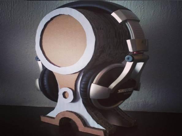 10. Stacked Cardboard DIY Headphone Stand