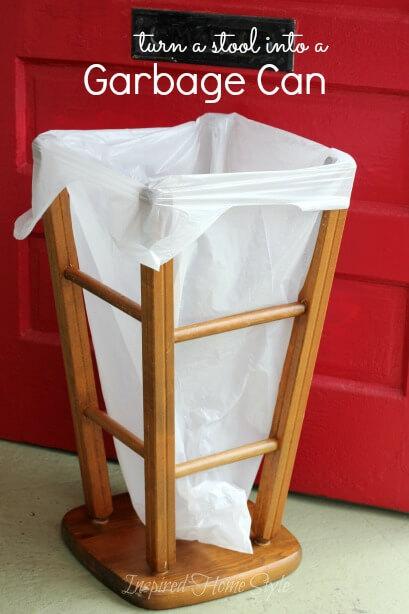 10. Stool Turned garbage bin