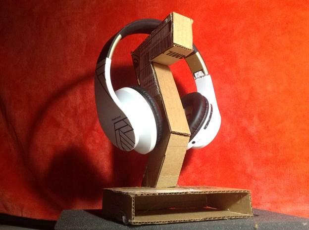 11. Cardboard and Hot Glue DIY Headphone Stand