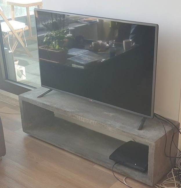 11. Floating Concrete TV Stand DIY