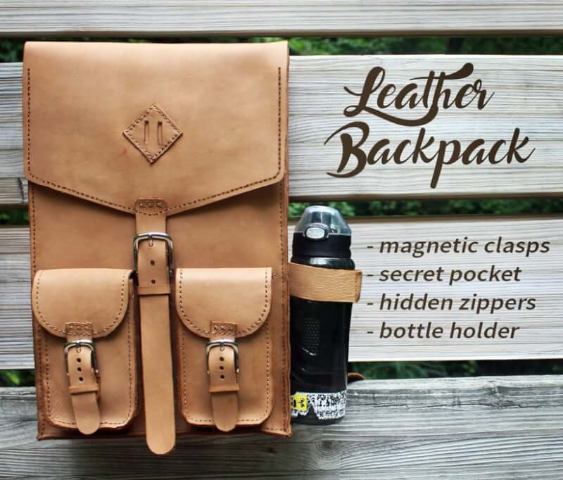 11. Hand Stitched Leather Backpack