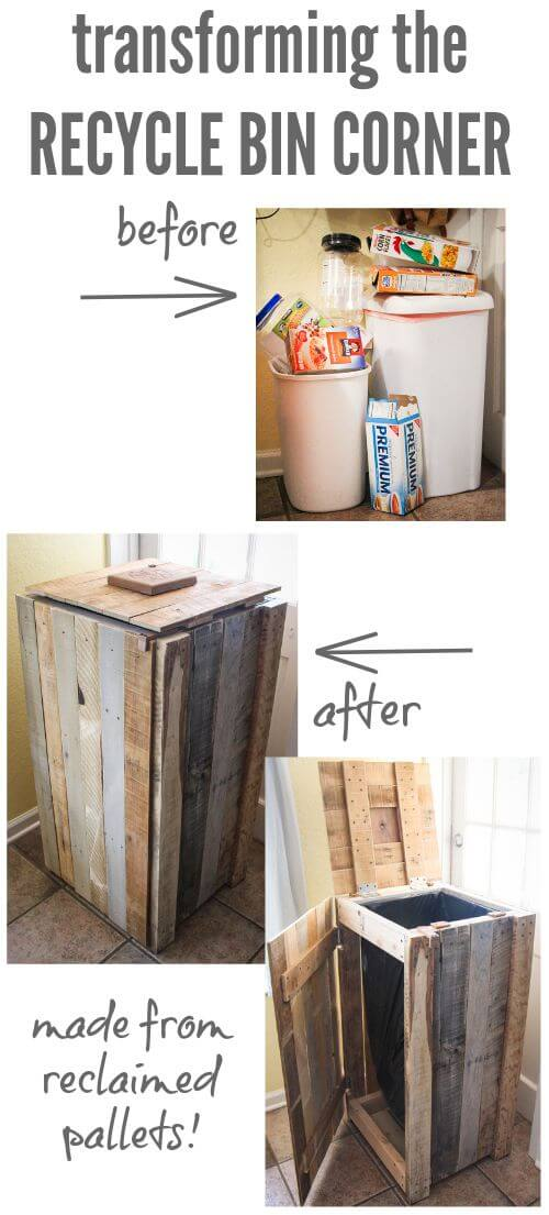 11. Salvaged pallet wood trash can
